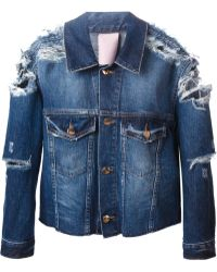 People Distressed Denim Jacket - Lyst