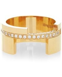 Maison Dauphin - Bold Yellow Gold And White Diamond Ring - Lyst