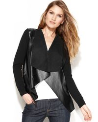 Michael Kors Michael Faux-leather Draped Cardigan - Lyst