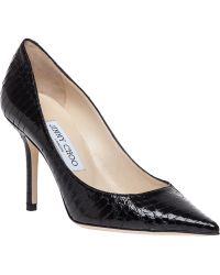 Jimmy Choo Agnes Snake-Embossed Leather Pumps black - Lyst