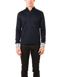 Blue&Cream Long Sleeve Military Polo black - Lyst