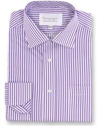 Double Two - Big And Tall Purple Striped Single Cuff Pure Cotton Shirt - Lyst