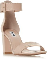 19a19e240ee Dune - Natural Leather  mirror  High Block Heel Ankle Strap Sandals - Lyst