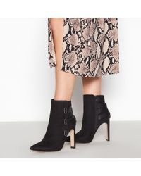d41c83305 Faith - Black Suedette 'bee' High Block Heel Pointed Toe Ankle Boots - Lyst