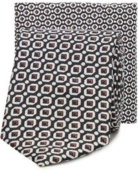 Red Herring Geometric Skinny Tie And Pocket Square Set - Black
