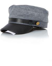 Quiz - Grey Military Button Hat - Lyst