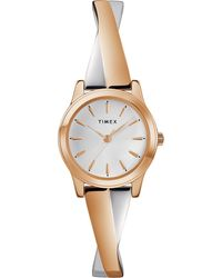 Timex Ladies Rose Gold And Silver Analogue Stretch Bangle Watch Tw2r98900 - Metallic