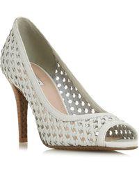 7035d1aea03 Leather 'carding' Mid Block Heel Peep Toe Sandals - White