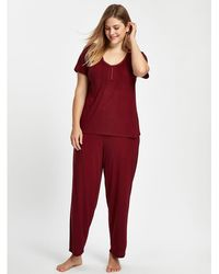 Evans - Berry Red Pintuck Plain Pyjama Set - Lyst