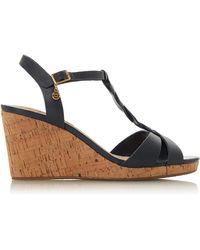 Dune - Navy Leather 'wf Koala' High Wedge Heel Wide Fit T-bar Sandals - Lyst