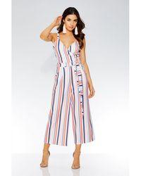 993924bf6f Quiz - Stripe Crossover Front Tie Belt Jumpsuit - Lyst