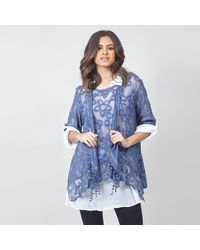 Izabel London Blue Dual Layer Top With Scarf