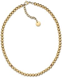 Tommy Hilfiger - Ladies Stainless Steel, Gold Ip Beaded Necklace - Lyst