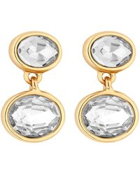 J By Jasper Conran Crystal Double Oval Drop Earrings - Metallic