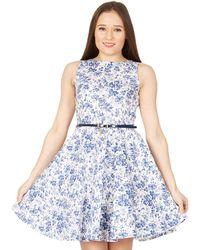 Izabel London - Multicoloured Floral Belted Fit & Flare Dress - Lyst