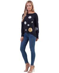 Izabel London - Navy Long Sleeve Spot Print Top - Lyst