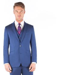 Ben Sherman - Bright Blue Plain Pure New Wool 2 Button Front Slim Fit Kings Suit Jacket - Lyst