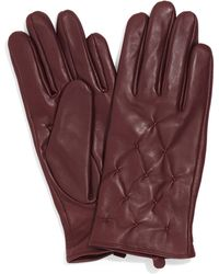 Phase Eight Brown Laurie Leather Pintuck Gloves - Red