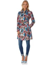 Yumi' - Multicoloured Floral Print Trench Coat - Lyst