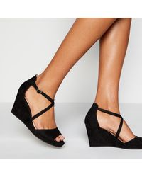 Faith Black 'dusty' Wedge Heel Sandals