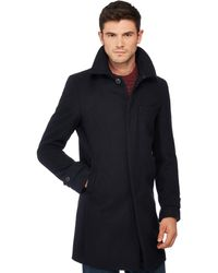 123d6ad4a Navy Wool Blend Collared Epsom Coat - Blue