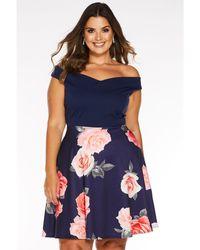 Quiz - Curve Floral Print Bardot Skater Dress - Lyst