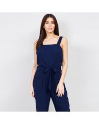 Izabel London Tie Front Jumpsuit - Blue