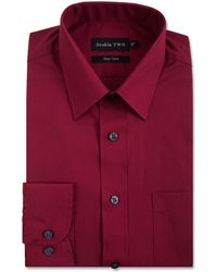 Double Two - Dark Red Classic Cotton Blend Easy Care Shirt - Lyst