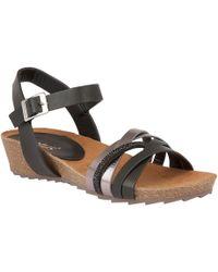 Lotus - Black Diamante 'pika' Mid Wedge Heel Sandals - Lyst