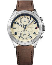 Tommy Hilfiger - Men's Sub-dial Brown Leather Strap Watch - Lyst