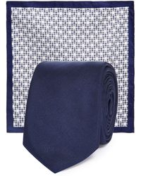 Red Herring - Navy Plain Slim Tie And Pocket Square - Lyst