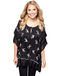 Yumi' Embroidered Bird Frilled Top - Black