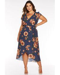 Quiz - Curve Polka Dot Floral Wrap Dress - Lyst