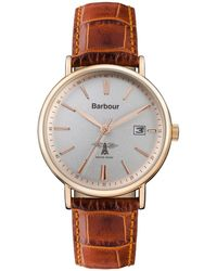 Barbour - Unisex Brown 'bamburgh' Leather Strap Watch - Lyst