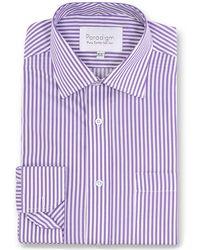 Double Two - Purple Striped Single Cuff Pure Cotton Shirt - Lyst