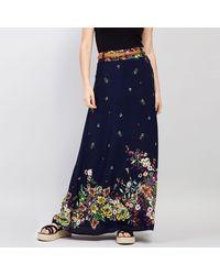 Izabel London Print Maxi Skirt - Blue