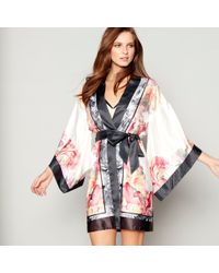 Ted Baker - Light Pink Floral Print Satin 'painted Posey' Kimono Dressing Gown - Lyst