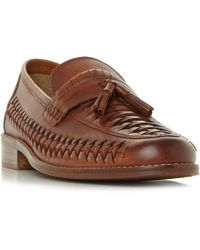 Dune - Tan 'broadhaven' Woven Saddle Tassel Loafers - Lyst