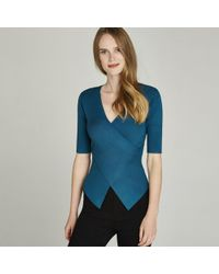 Apricot - Turquoise Ribbed Crossover Top - Lyst