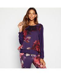 Ted Baker 'splendour' Floral Front Jersey Pyjama Top - Purple