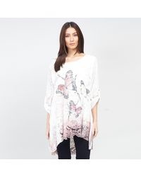 Izabel London Butterfly Print Layered Lace Top - White
