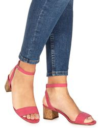 0cee1e9bfafb9 Faith - Pink Suedette 'daenerys' Mid Block Heel Ankle Strap Sandals - Lyst