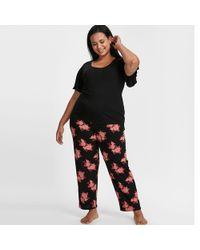 Evans - Black Rose Print Pyjama Set - Lyst