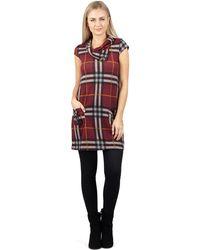 Izabel London - Red Long Sleeve Big Check Shift Dress - Lyst
