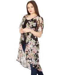 Izabel London - Multicoloured Floral Waterfall Chiffon Blouse Top - Lyst