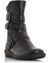 Dune - Black 'rania' Buckle Detail Biker Boots - Lyst