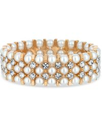 Red Herring - Gold Pearl And Crystal Stretch Bracelet - Lyst