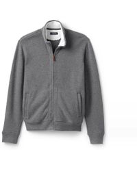 Lands' End - Grey Brushed Rib Zip Cardigan With Sherpa-lined Collar - Lyst