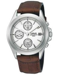 Lorus - Men's White Chronograph Dial With Brown Strap Watch Rf325bx9 - Lyst