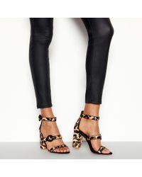 6769f8efb05 Faith - Multicoloured Leather  dellar  Leopard Print Block Heel Sandals -  Lyst